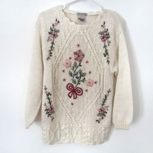 Vintage Handknit Floral Embroidered Sweater